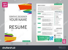 Graphic Designer Resume Template Vector Minimalist Cv Resume Template Graphic Stock Vector 30