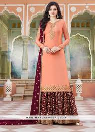 Satin Function Wear Embroidered Suit In Peach Color