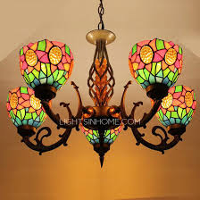 stained glass shade 5 light antique style chandeliers