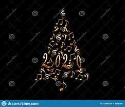 Christmas Cards With Lights And Music 2020 Christmas Tree With Silver Metal Musical Notes Isolated