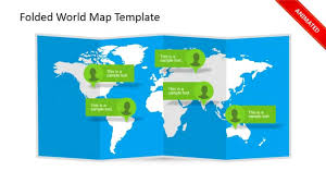 World Map Power Point Animated 3d Folded World Map Powerpoint Template Youtube