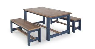 a dining table and set of 2 benches in solid wood and blue