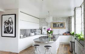 modern kitchen counter. Stainless Steel Mid Century Modern Kitchen Countertops In White With Cabinets And Counter Stools E