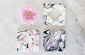 diy marble coasters using nail polish