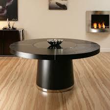 sentinel large round black oak dining table glass lazy susan led lights 1 6m