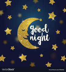 good night wishes with glitter gold moon and stars vector image