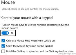 how to move the mouse cursor the keyboard in windows screenshot when mouse keys is toggled on additional options are available