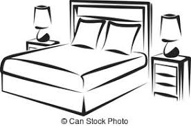 bedroom clipart black and white. bedroom - simple vector illustration of a interior clipart black and white o