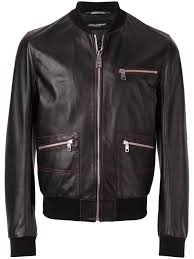 contrast stitched leather er jacket