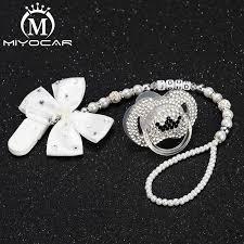 <b>MIYOCAR</b> Any <b>name</b> white bow bling rhinestone pacifier clip holder ...