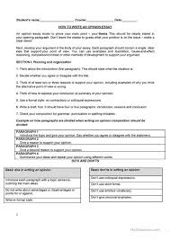 writing an opinion essay worksheet esl printable worksheets  writing an opinion essay