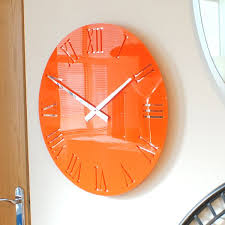 gloss orange mordern vintage wall clock uk