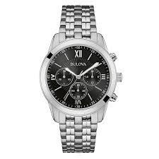 bulova men s black dial stainless steel bracelet watch h samuel bulova men s black dial stainless steel bracelet watch product number 3562611