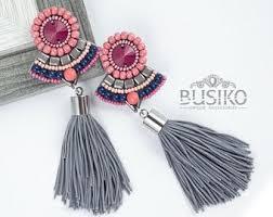 Red mexican earrings. Extra long <b>tassels</b> earrings. <b>Statement</b> | Etsy ...