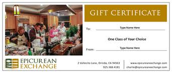 Customized Gift Certificates Gift Certificates Epicurean Exchange Culinary Travel