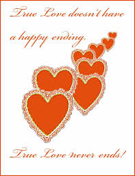 sweet love sayings love never ends red hearts