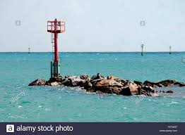 Pole Lights India Navigation Pole Lights In Indian Ocean Stock Photo
