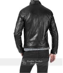 genuine mens black lambskin biker style leather jacket back view