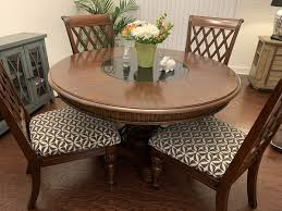 dining room set 54 round solid wood table w 4 chairs pineapple carved base and slate turning centre