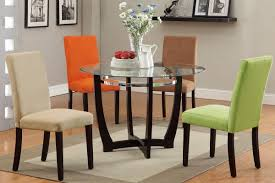round glass dining table white stained expandable modern chair brown laminated wooden shelf rectangle box colour