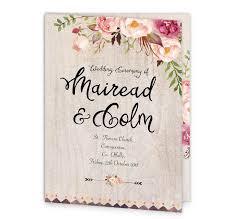 Wedding Ceremony Program Cover Flowering Affection Mass Booklet Cover Loving Invitations