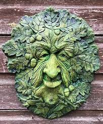 green man wall plaque oak king pagan