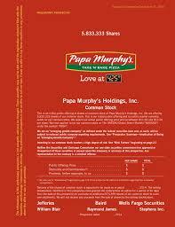Papa Murphy S Pizza Size Chart Amendment No 2 To Form S 1