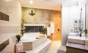 corner bathroom design decorated with candles