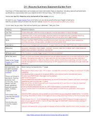 Sample Summary Statement Resume Summary Statement Resume Examples Outathyme Com