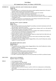 Airport Agent Resume Samples Velvet Jobs