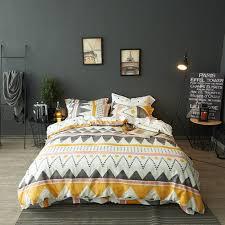 modern boho tribal bedding aztec stripe print cotton duvet quilt cover set native american denim blue