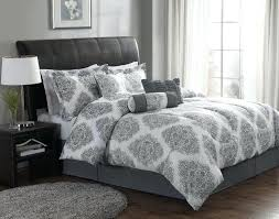 elegant bedroom with gray white damask comforter sets and bedding ideas black set queen
