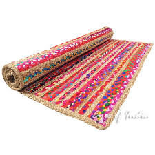 colorful striped woven jute chindi braided area decorative rag rug 3 x 5 ft 5