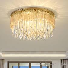 dimmable modern led round crystal chandeliers high end clear k9 crystals surface mounted chandelier for living room bedroom guest room led ceiling crystal