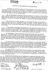 the atomic bomb hiroshima and nagasaki org a petition to the president of the united states