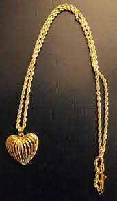 14k solid gold diamond cut heart pendant rope chain 4 4grams