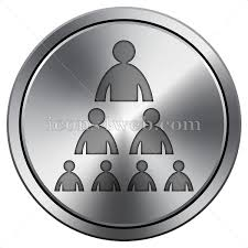 Organizational Chart With People Icon Round Icon Imitating Metal