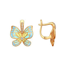 <b>Серьги</b> с <b>бабочками</b> украшенными эмалью <b>SOKOLOV</b> – купить в ...