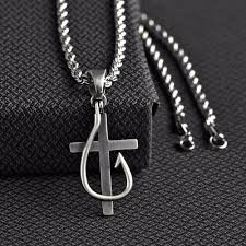 details about twister western jewelry mens necklace cross fish hook silver 32134