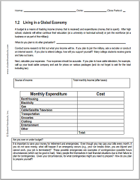 basic budget worksheet college student economics worksheets monthly budget worksheet for economics free to