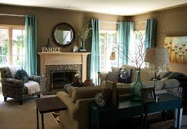 Contemporary Living Room With Teal Curtains Gallery