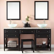 double sink vanity with makeup area. 72\ double sink vanity with makeup area