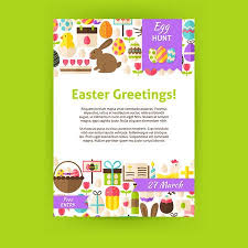 Easter Greeting Card Template Custom Happy Easter Invitation Template Poster Flat Design Vector