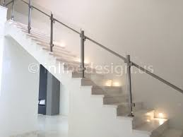 Modern Handrail stainless steel glass railing square stair middle post inline design 7878 by guidejewelry.us