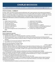 Stylish Resume For Equipment Operator Picturesque Best Heavy Example