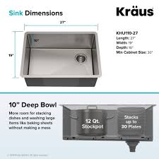 Kraus Standart Pro 27 Inch 16 Gauge Undermount Single Bowl