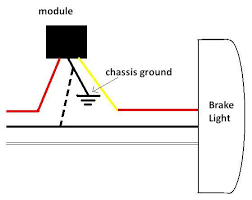 brake light wiring strobe module net forums yellow outgoing signal to light it does not properly function grounding to either chassis ground or the ground wire of the light
