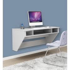 rectangle cream stained wooden floating desk black modern metal hanging office cubicle