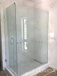 3 8 frameless inline shower door with a return panel and chrome hardware finish