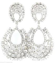 excellent big crystal rhinestone chandelier clip on earrings 3 costume party